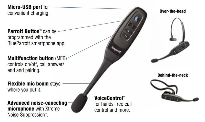 VXi BlueParrott C400-XT Bluetooth Headset -INCLUDES- MobileSpec 12V Replacement Car Charger with Micro USB Adapter