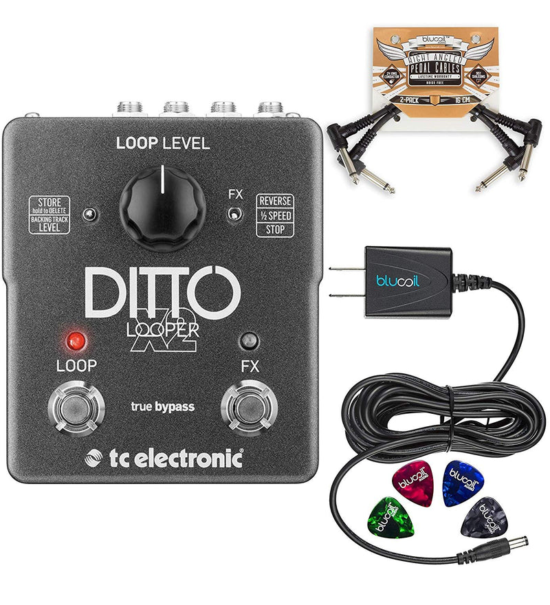 TC Electronic Ditto X2 Looper Effects Pedal Bundle with Blucoil Power Supply Slim AC/DC Adapter for 9 Volt DC 670mA, 2-Pack of Pedal Patch Cables and 4-Pack of Celluloid Guitar Picks