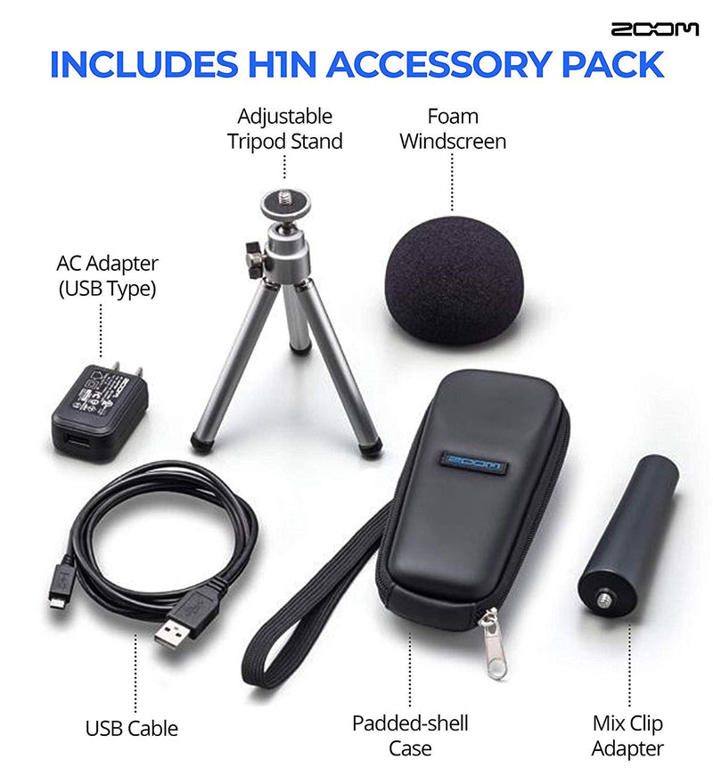 Zoom H1N Handy Recorder Bundle with Silicon Power 32GB Class 10 SDHC MicroSD Card, 6-FT Stereo Aux Cable, Blucoil 6-FT Headphone Extension Cable (3.5mm), and 4 AAA Batteries