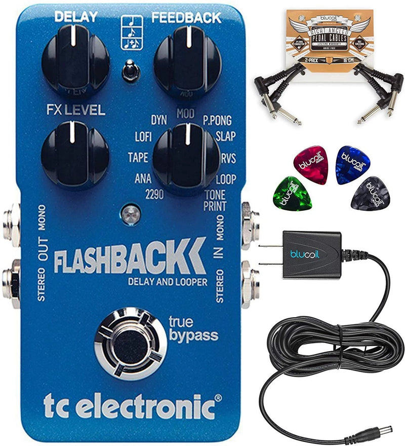 TC Electronic Flashback Delay and Looper Pedal with TonePrint and True Bypass Bundle with Blucoil Slim 9V Power Supply AC Adapter, 2-Pack of Pedal Patch Cables, and 4-Pack of Celluloid Guitar Picks