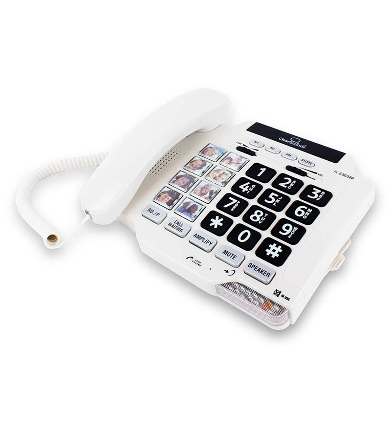 ClearSounds CSC500 Amplified Landline Phone with Speakerphone and Photo Frame Buttons - Up to 40dB Amplification, T-Coil Hearing Aid Compatible