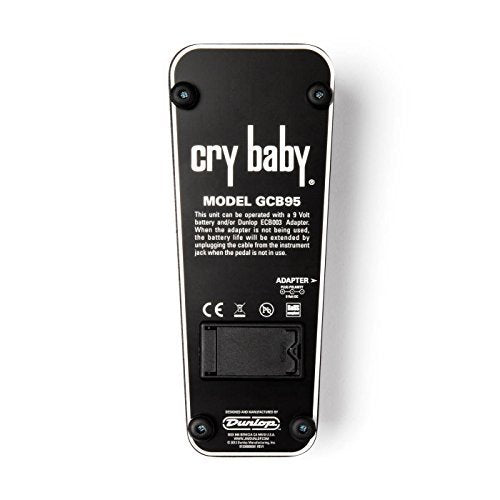 Jim Dunlop GCB95 Cry Baby Standard Wah Pedal Bundle with 2-Pack of Blucoil Pedal Patch Cables and 4-Pack of Celluloid Guitar Picks