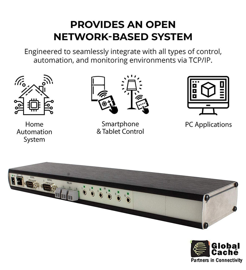 Global Caché GC-100-12 Network Adapter - Connects RS232 Serial, Relay, Infrared Devices and Smart Sensors to a Wired Ethernet (12-Inch)
