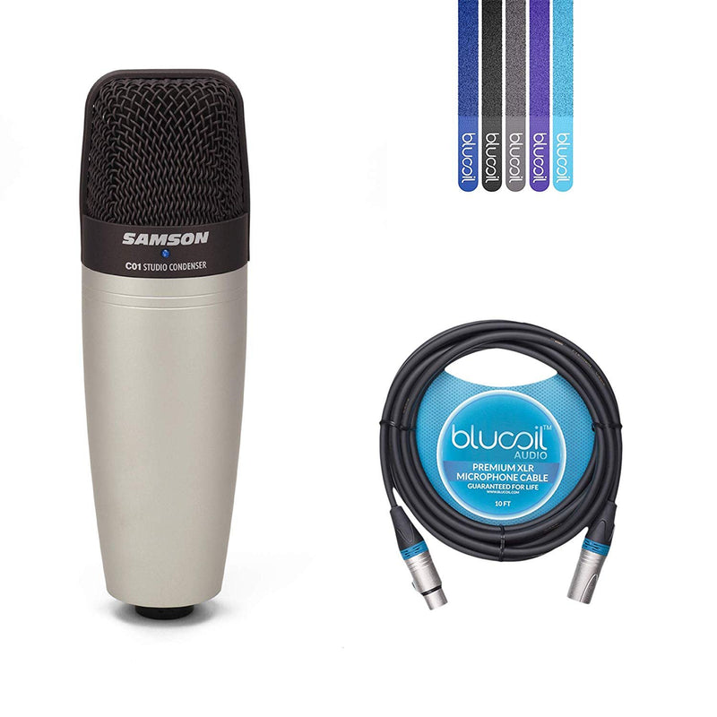 Samson C01 Hypercardioid Condenser Microphone for Studio Recording Bundle with Blucoil 10-Fft XLR Cable and 5-Pack of Reusable Cable Ties