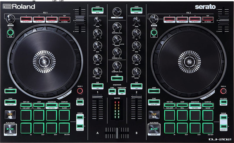 Roland DJ-202 DJ Controller Bundle with Serato DJ Lite Software, Samson SR350 Headphones, Hosa 1m Dual RCA to Dual RCA Stereo Cable, 10-FT USB 2.0 Extension Cable, and 5x Cable Ties