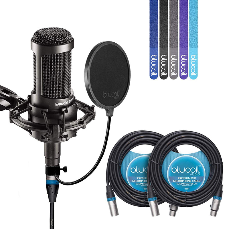 Audio-Technica AT2035 Large Diaphragm Studio Cardoid Condenser Microphone Bundle with Shock Mount, Blucoil Pop Filter, 2 20-Ft XLR Cable and 5-Pack of Cable Ties