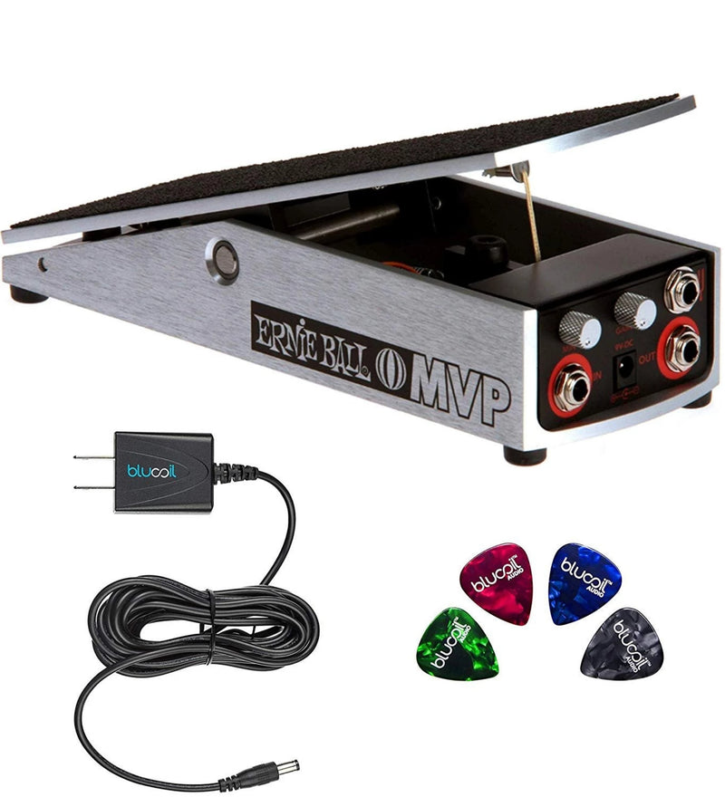 Ernie Ball MVP 6182 Mono Volume Pedal with Minimum and Maximum Volume Control and Tuner Output Bundle with Blucoil Power Supply Slim AC/DC Adapter for 9 Volt DC 670mA and 4-Pack of Guitar Picks