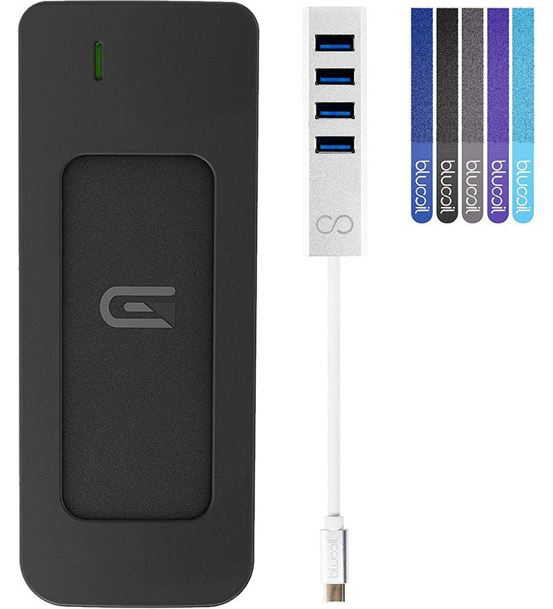 Glyph Atom 500GB External Solid State Drive with USB-C Connection, Thunderbolt 3 Compatible (Silver) Bundle with Blucoil USB Type-C Mini Hub with 4 Ports and 5-Pack of Cable Ties