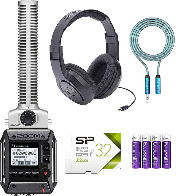 Zoom F1-SP Field Recorder and Shotgun Mic Combo Bundle with Samson SR350 Over-Ear Closed-Back Headphones, Silicon Power 32GB Class 10 MicroSD Card, Blucoil 6' 3.5mm Extension Cable and 4 AAA Batteries