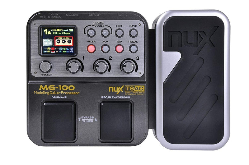 NUX MG-100 Multi Effects Processor Bundle with Hosa 10-FT Straight Instrument Cable (1/4in), Blucoil Slim 9V 670ma Power Supply AC Adapter, 2-Pack of Pedal Patch Cables, and 4x Guitar Picks