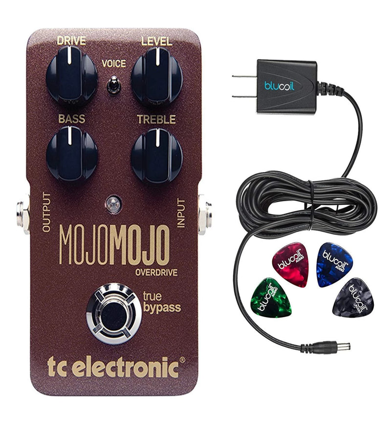 TC Electronic MojoMojo Effects Pedal Overdrive Bundle with Blucoil Power Supply Slim AC/DC Adapter for 9V-DC 670mA with US Plug and 4-Pack of Celluloid Guitar Picks