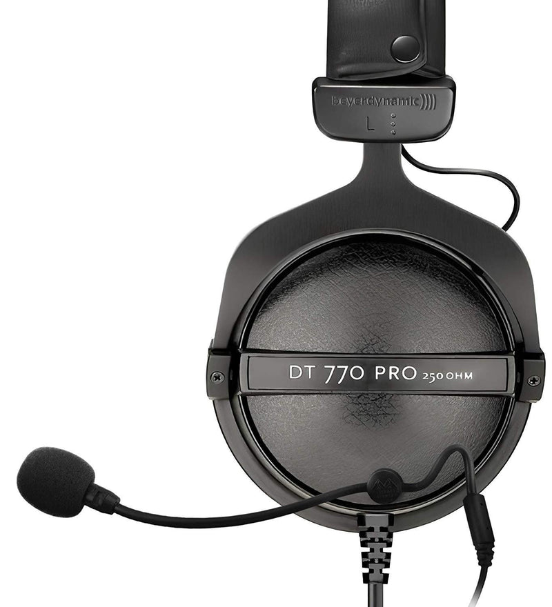 Beyerdynamic DT 770 Pro 250 Ohm Headphones + Antlion Audio ModMic 4 with Mute Switch + Blucoil Y Splitter Cable
