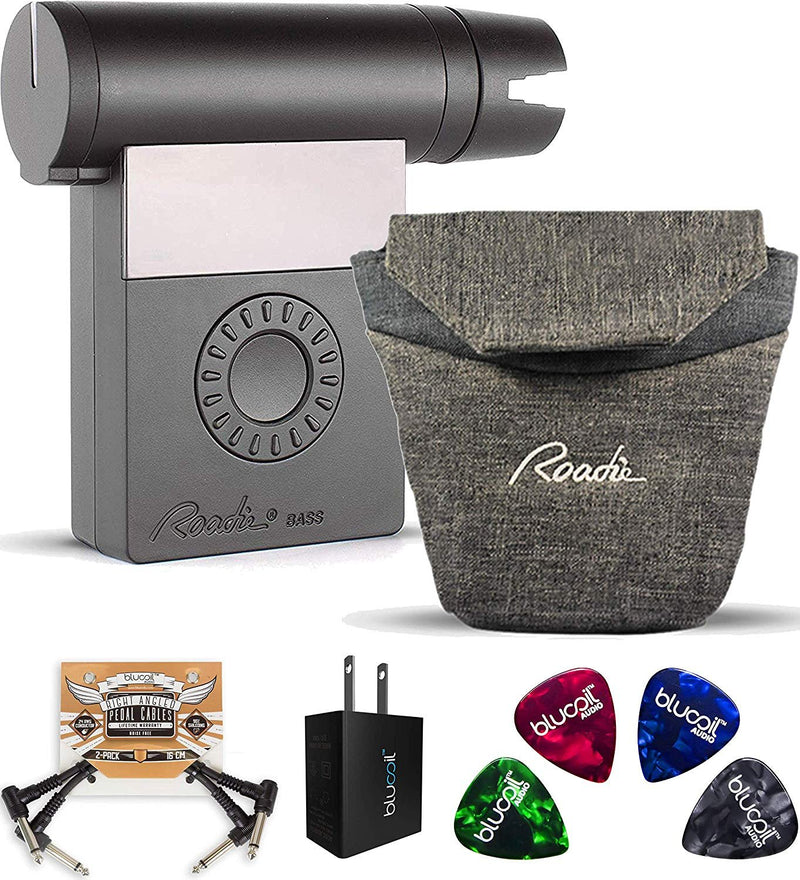 Roadie Bass RD250 Automatic Bass and Guitar Tuner Bundle with Roadie RP02 Clip On Pouch, Blucoil USB Wall Adapter, 2-Pack of Pedal Patch Cables, and 4-Pack of Celluloid Guitar Picks