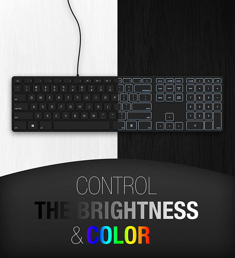 Matias FK318PCLBB RGB Backlit USB Wired Aluminum Keyboard with Numeric Keypad - Compatible with Windows PC Bundle with Blucoil Mini USB Type-C Hub with 4 USB Ports (Black)