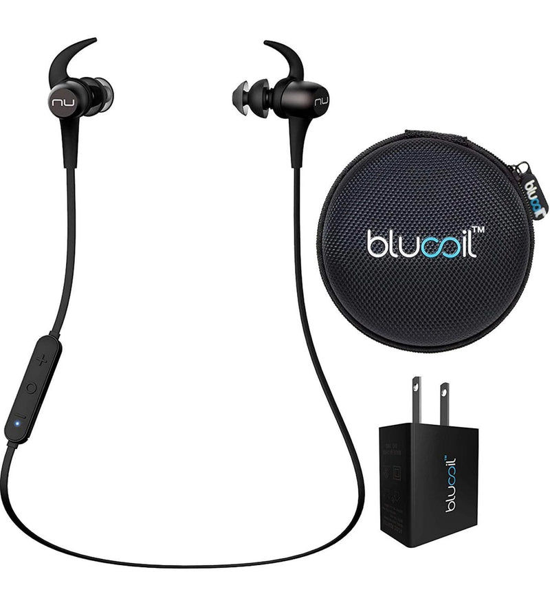 NuForce BE Sport3 Noise Isolation Earphones Wireless Bluetooth aptX AAC with SpinFit Eartips (Silver) Bundle with Blucoil USB Wall Adapter, and Portable Earphone Hard Case