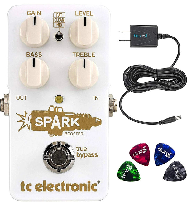 TC Electronic Spark Booster Pedal Bundle with Blucoil Slim 9V 670ma Power Supply AC Adapter and 4-Pack of Celluloid Guitar Picks