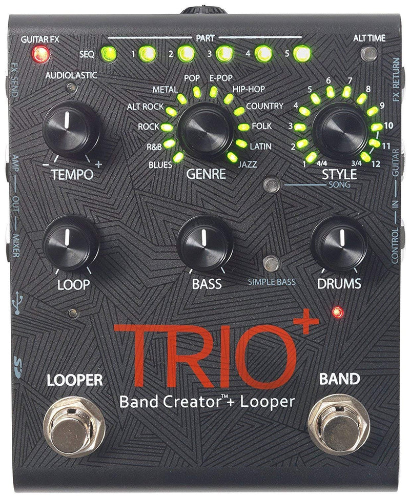 DigiTech TRIO Plus Looper/Band Creator Effects Pedal with USB Connection Bundle with Blucoil Power Supply Slim AC/DC Adapter for 9V DC 670mA, 2-Pack of Pedal Patch Cables and 4-Pack of Guitar Picks