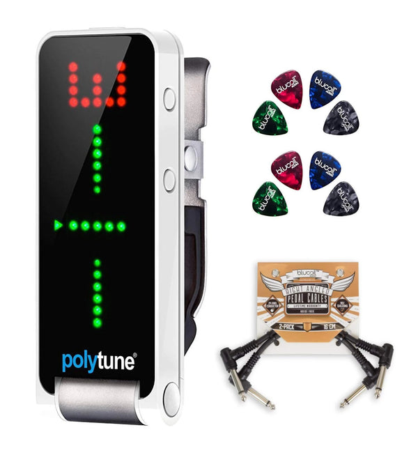 TC Electronic PolyTune Clip Tuner Bundle with Blucoil Pedal Patch Cables (2-Pack) and Celluloid Guitar Picks (8-Pack)