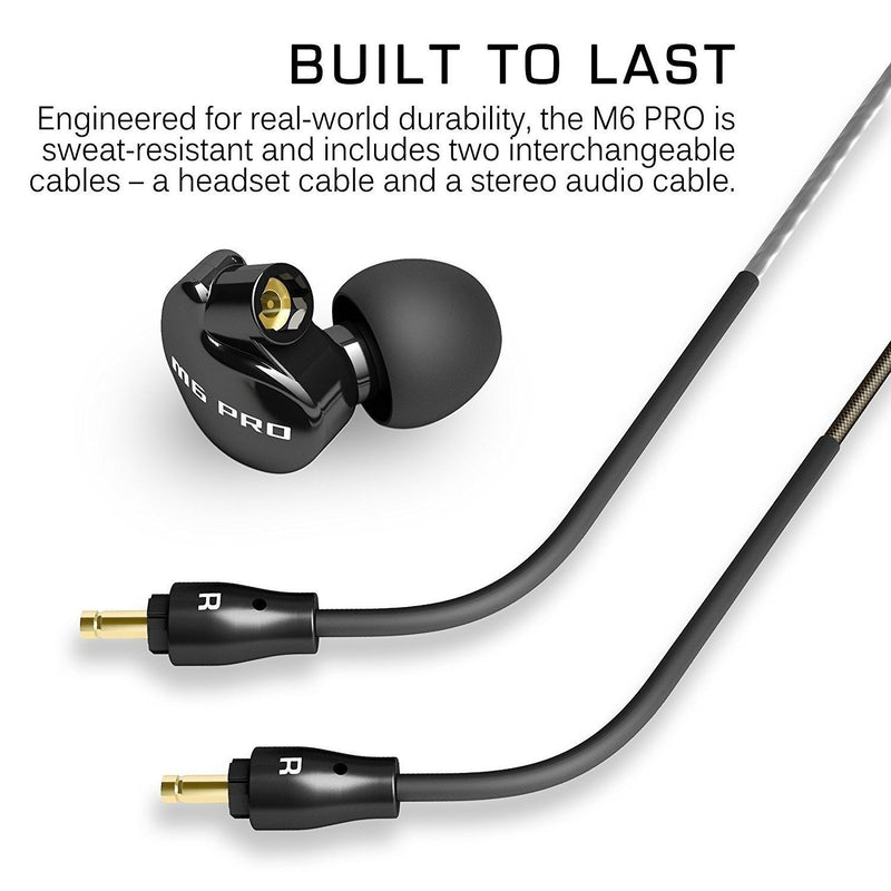 MEE audio M6 PRO Noise-Isolating Musician's in-Ear Monitors (Jet Black) Bundle with MEE Audio BTC1 Qualcomm APTX Bluetooth Wireless Adapter Cable