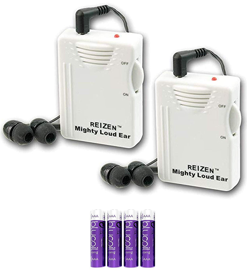 Reizen Mighty Loud Ear 120dB Personal Amplifier (2-Pack) Bundle with Blucoil 4 AAA Batteries