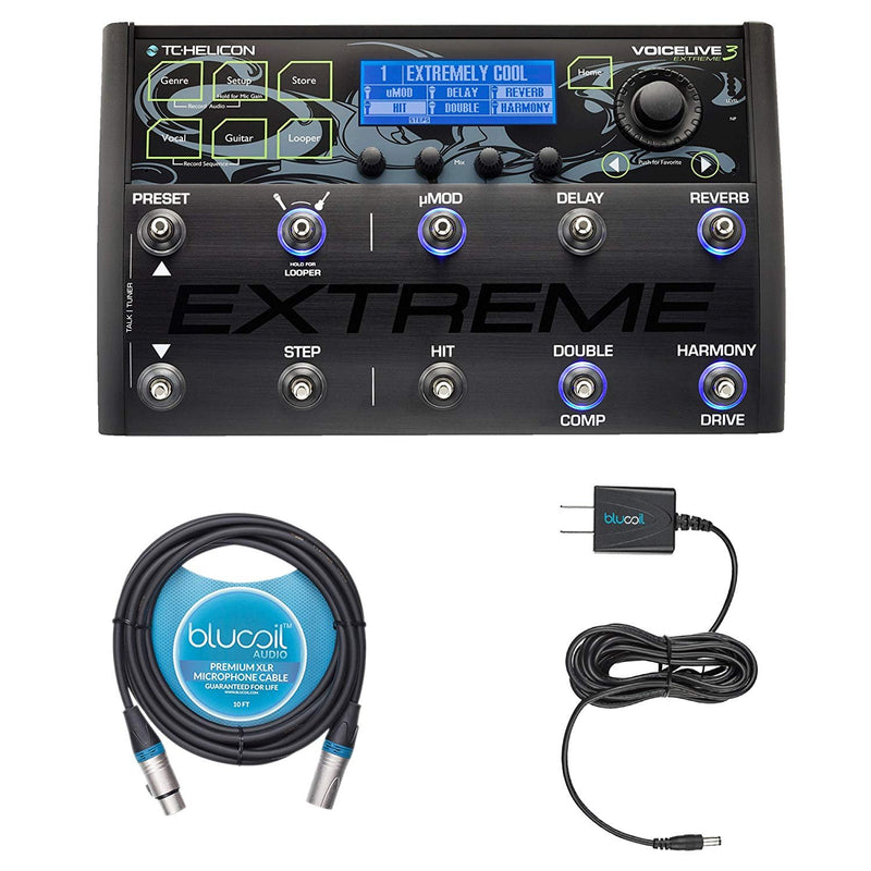 TC Helicon VoiceLive 3 Extreme Vocal Effects Processor Bundle with Blucoil 12 Volt DC 1000mA Power Supply AC/DC Adapter and 10-Ft Balanced XLR Cable
