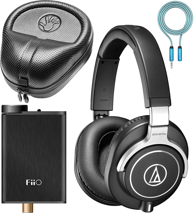 Audio-Technica ATH-M70x Closed-Back Dynamic Headphones Bundle with FiiO E10K Black USB DAC and Headphone Amplifier, Slappa Full-Sized HardBody Pro Headphone Case, and Blucoil 6' 3.5mm Extension Cable