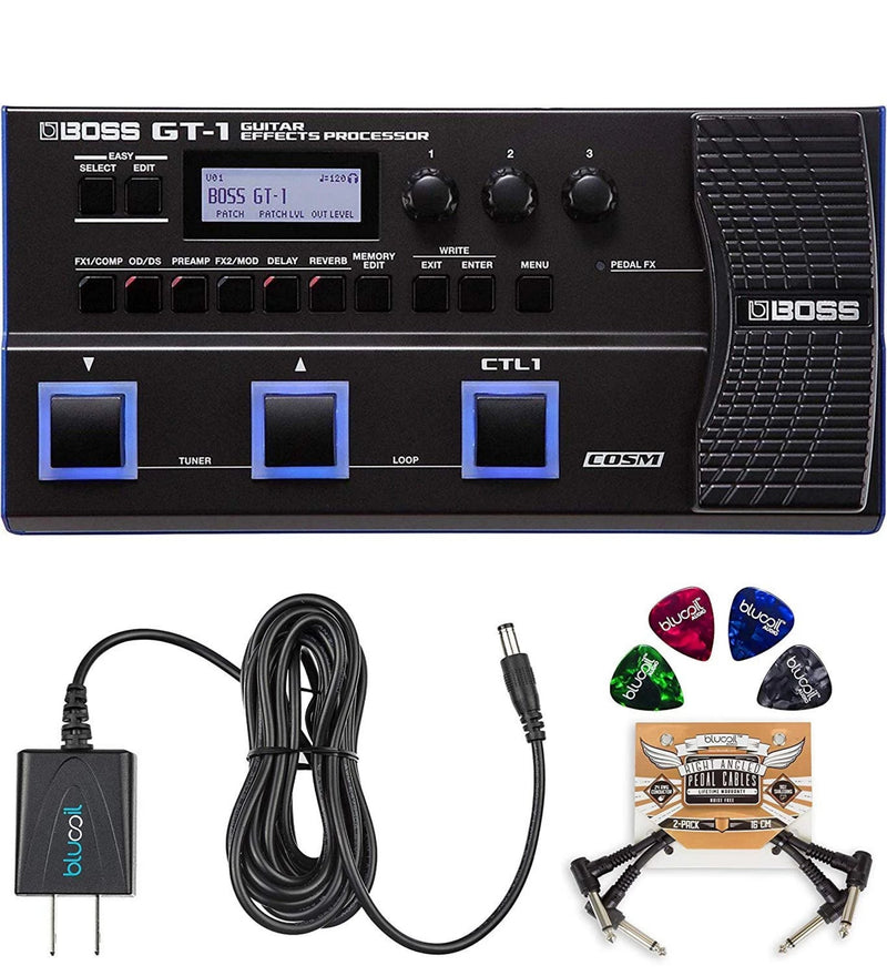 BOSS GT-1 Guitar Multi-Effects Pedal + Blucoil 9V AC Adapter + 2x Patch Cables + 4x Guitar Picks