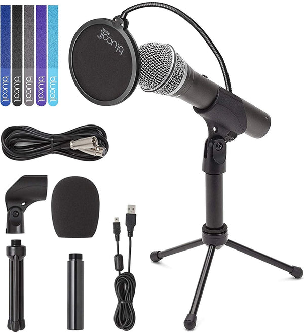 Samson Q2U Handheld Dynamic USB and XLR Microphone for Podcasting, Live Sound & Recording Bundle with Desktop Tripod, XLR and USB Cable, Blucoil Pop Filter and 5-Pack of Reusable Cable Ties