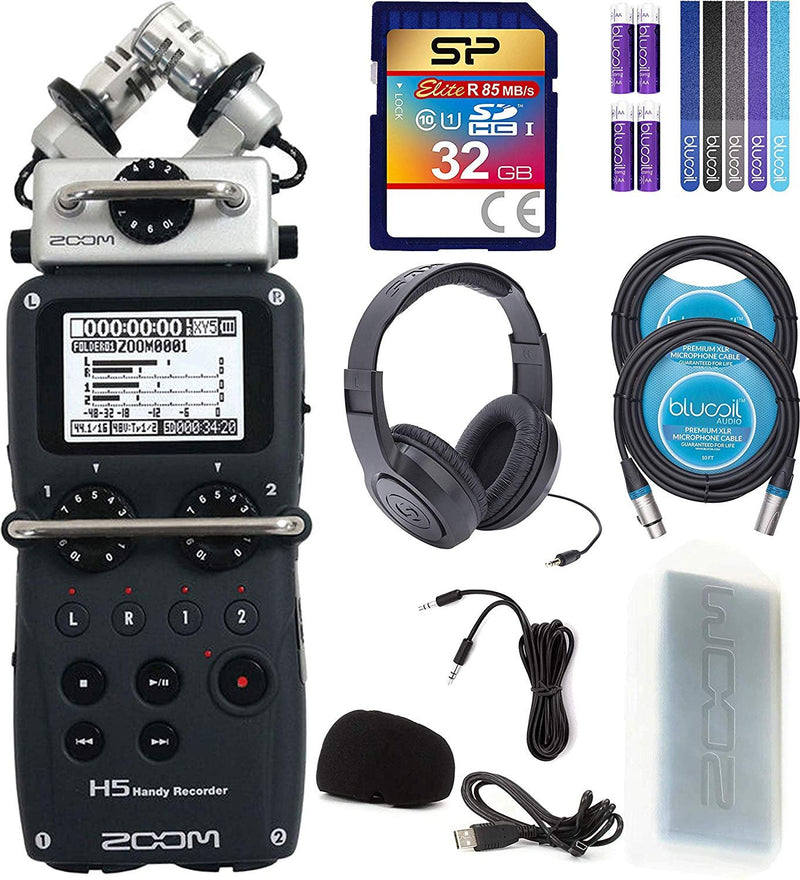 Zoom H5 Handy Recorder Bundle with Samson SR350 Over-Ear Closed-Back Headphones, Silicon Power 32GB Class 10 SD Card, 6' Aux Cable, 2x Blucoil 10' XLR Cable, 5x Cable Ties, and 4 AA Batteries