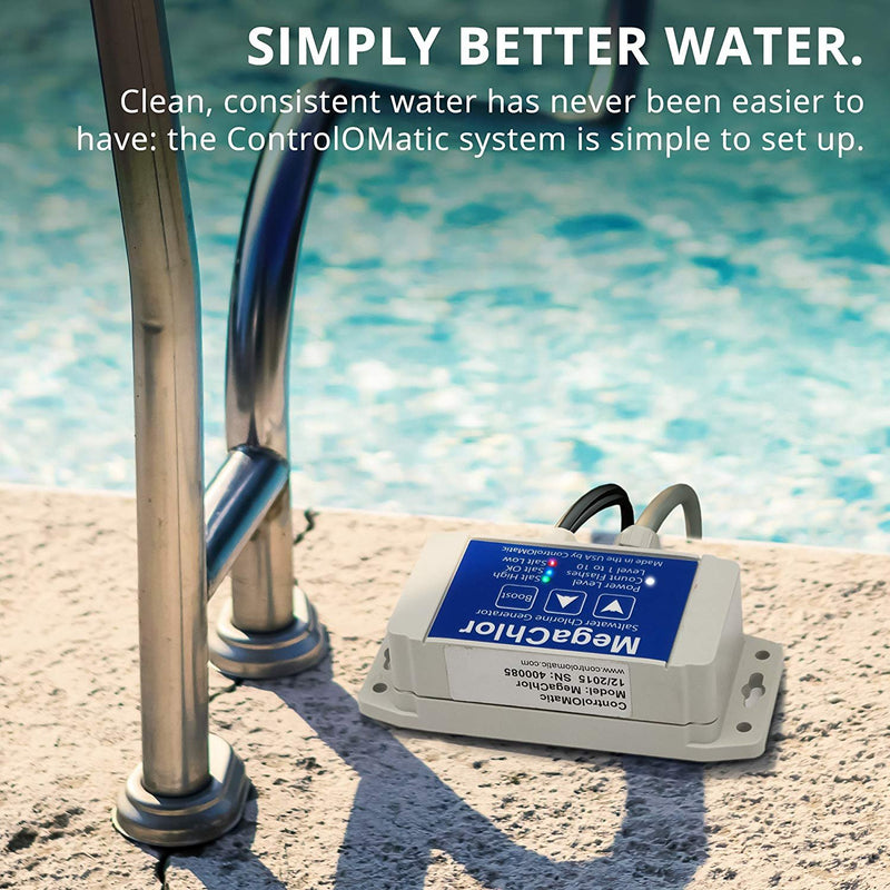 ControlOMatic MegaChlor DO Saltwater Chlorine Generation System for Pools, Hot Tubs, Spas