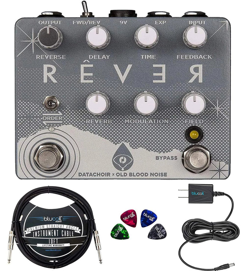 Old Blood Noise Endeavors Rêver Reverse Delay and Reverb Pedal Bundle with Blucoil Slim 9V 670ma Power Supply AC Adapter, 10-FT Mono Instrument Cable, and 4-Pack of Celluloid Guitar Picks