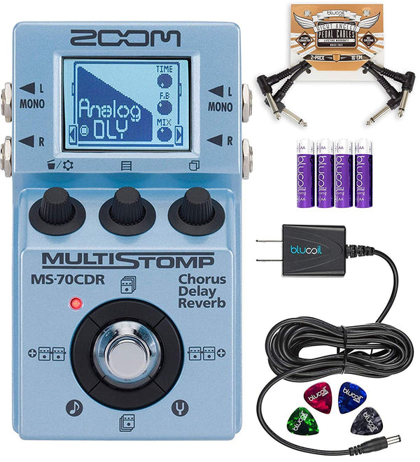 Zoom MS-70CDR MultiStomp Chorus/Delay/Reverb Pedal Bundle with Blucoil Slim 9V Power Supply, 2-Pack of Pedal Patch Cables, 2-Pack of AA Batteries and 4-Pack of Celluloid Guitar Picks