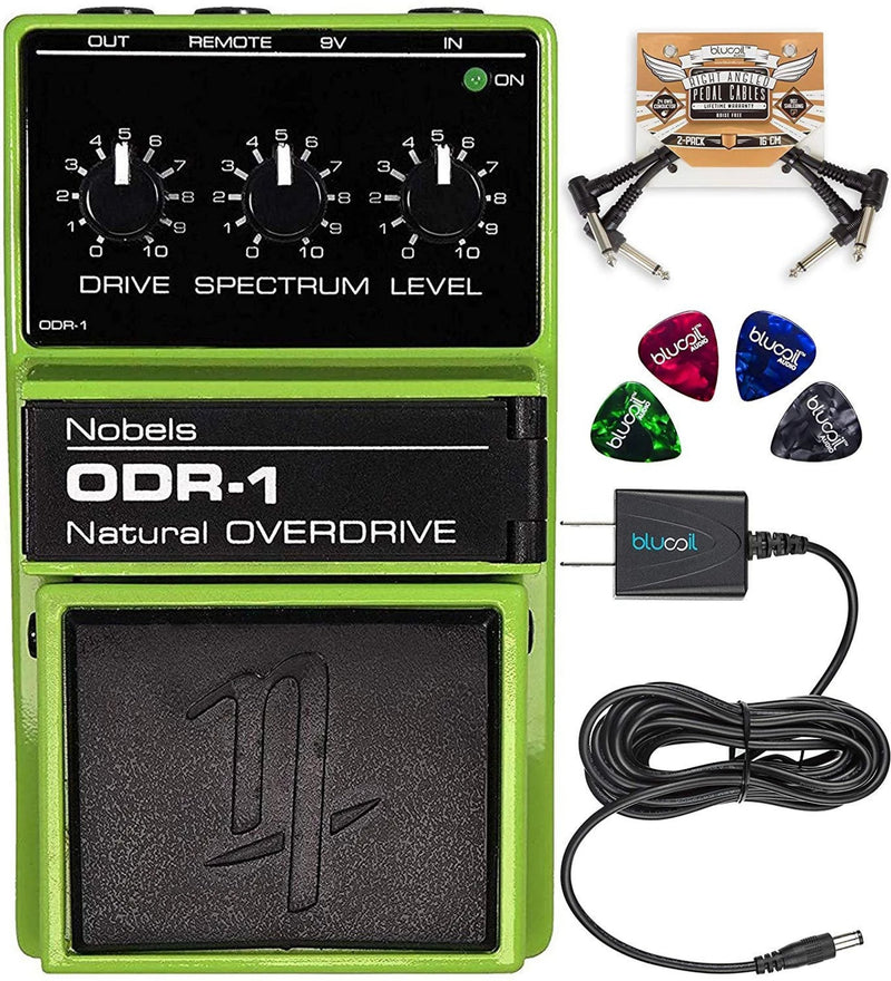 Nobels ODR-1 Natural Overdrive Pedal Bundle with Blucoil Slim 9V 670ma Power Supply AC Adapter, 2-Pack of Pedal Patch Cables, and 4-Pack of Celluloid Guitar Picks