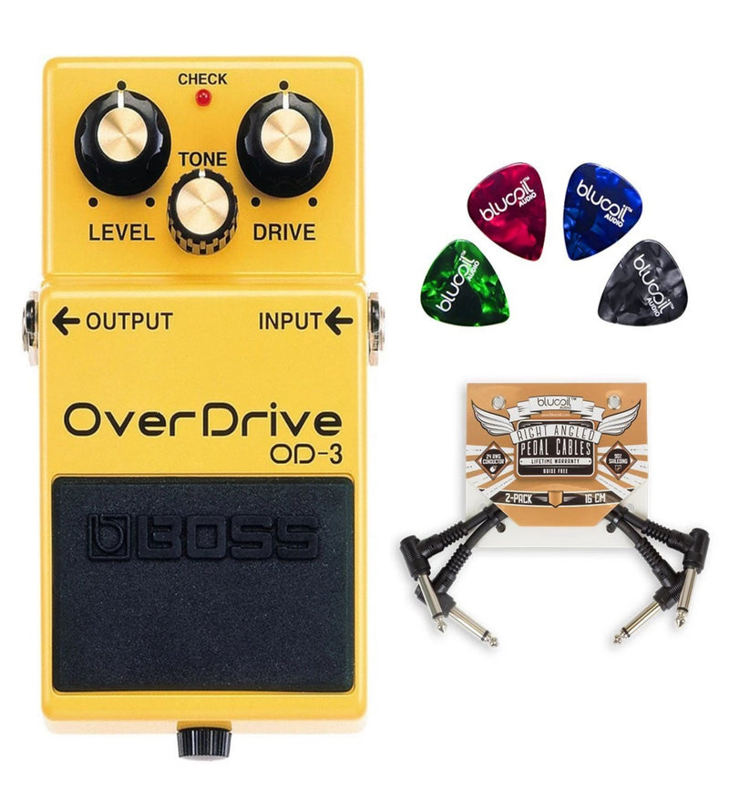 BOSS OD-3 Bass Overdrive Pedal with 2-Band Equalizer Bundle with 2-Pack of Blucoil Pedal Patch Cables and 4 Guitar Picks