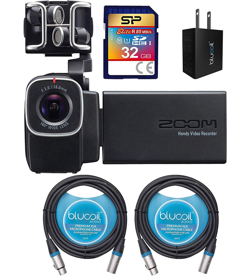 Zoom Q8 Handy Video Recorder Bundle with Silicon Power 32GB Class 10 SDHC SD Card, Blucoil USB Wall Adapter and 2x 10-FT Balanced XLR Cables