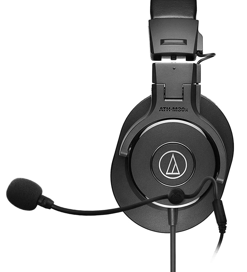 Audio-Technica ATH-M30x Closed Back Dynamic Headphones Bundle with Antlion Audio ModMic 4 Without Mute Switch, and Blucoil Y Splitter for Audio, Mic