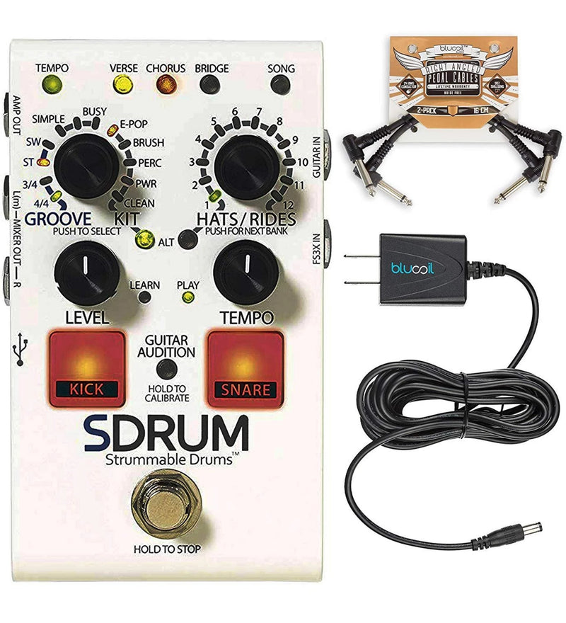 DigiTech SDRUM Auto-Drummer Drum Machine Pedal + Blucoil Slim 9V Power Supply AC Adapter + 2x Patch Cables