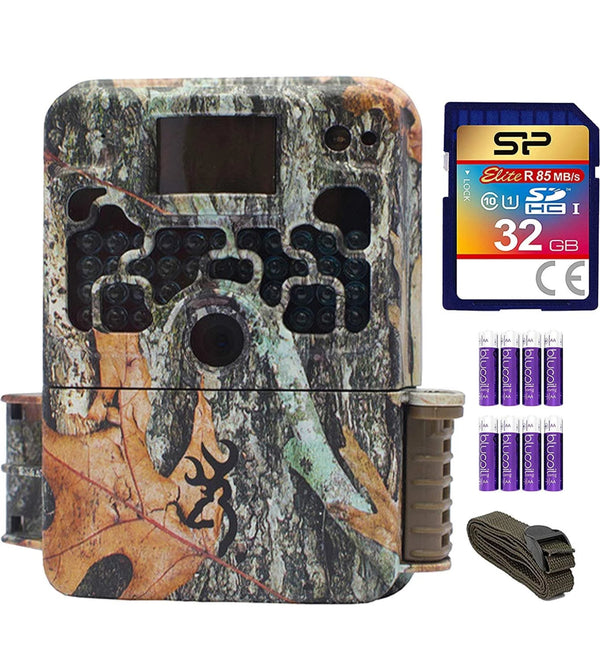 Browning Trail Cameras BTC-5HDX Strike Force Extreme HD Video Camera with 16MP Image Resolution Bundle with 6-FT Tree Strap Mount, Silicon Power 32GB Class 10 SD Card 8 AA Batteries