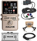 NUX Loop Core Deluxe Looper Pedal Bundle with NUX NMP-2 Dual Footswitch, Hosa 3-Ft CPP-103 Unbalanced Audio Cable, Blucoil 2-Pack 9V DC Power Supply, 2-Pack of Patch Cables and 4-Pack of Guitar Picks