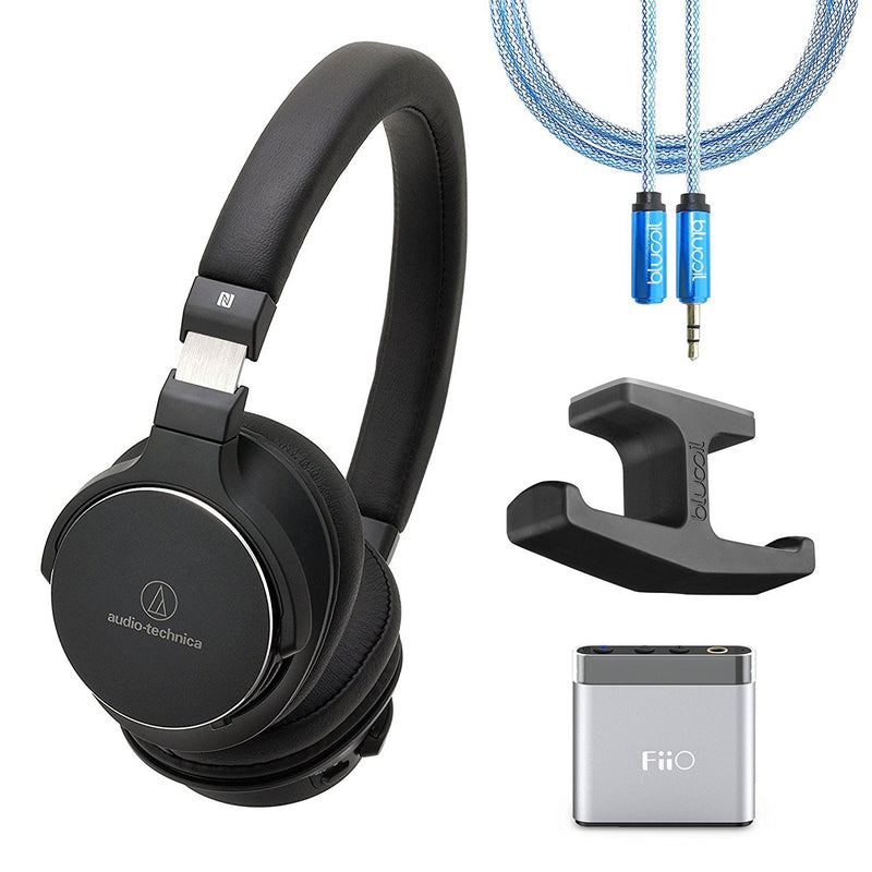 Audio-Technica ATH-SR5BTBK Bluetooth Wireless On-Ear High-Resolution Audio Headphones Bundle with FiiO A1 Silver Portable Amp, Blucoil 6-Ft Extension Cable and Under Desk Dual Headphone Hook