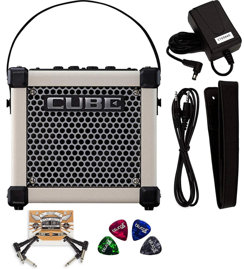 Roland MICRO CUBE GX Guitar Amplifier with Built-In Chromatic Tuner (Black) Bundle with 2-Pack of Blucoil Pedal Patch Cables and 4-Pack of Celluloid Guitar Picks