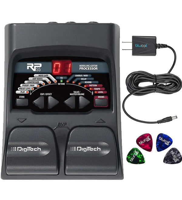 DigiTech RP55 Multi-FX Pedal with Built-In Guitar Tuner + Blucoil 9V AC Adapter + 4x Guitar Picks