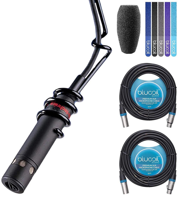 Audio-Technica PRO 45 ProPoint Overhead Condenser Microphone (Black) Bundle with Blucoil 2-Pack of 20-FT Balanced XLR Cables, and 5-Pack of Reusable Cable Ties