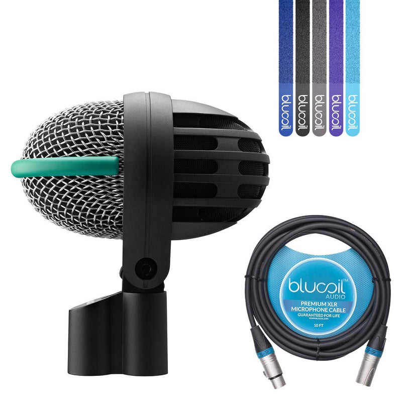 AKG D112 MKII Dynamic Microphone for Bass Drums Bundle with Blucoil 10-Ft Balanced XLR Cable and 5 Pack of Cable Ties