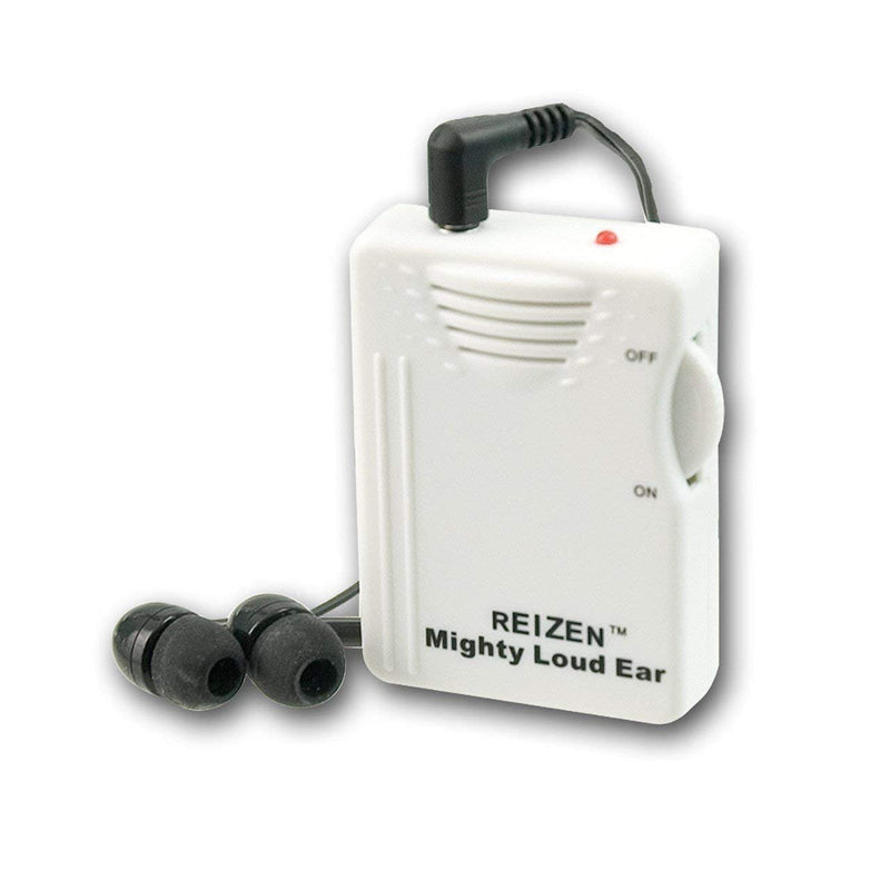 Reizen Mighty Loud Ear Personal Hearing Amp Up to 120dB Amplification -Bundled with- Far End Gear ECAVM1 in-Ear Short Buds w/Mic, Blucoil 6' Extension Cable, 4 AAA Batteries and 5-Pack of Cable Ties