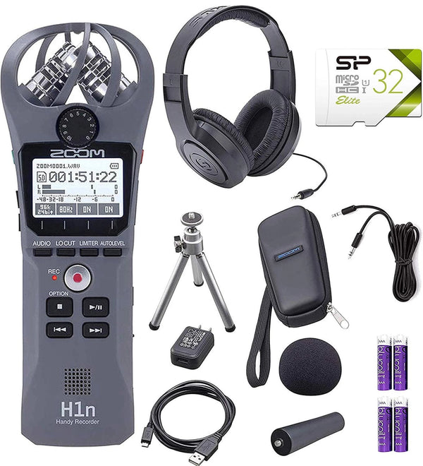 Zoom H1N Handy Recorder Bundle with Zoom APH-1N Accessory Package, Samson SR350 Over-Ear Closed-Back Headphones, Silicon Power 32GB Class 10 MicroSD Card, 6' Aux Cable and 4x Blucoil AAA Batteries