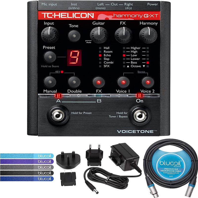 TC Helicon VoiceTone Harmony-G XT Vocal Effects Pedal Bundle with 12V Power Supply (Tip Negative Center), Blucoil 10-FT Balanced XLR Cable, and 5-Pack of Reusable Cable Ties