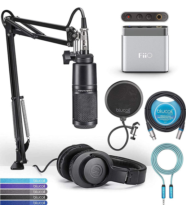 Audio-Technica AT2020PK Streaming/Podcasting Pack Bundle with FiiO A1 Silver Portable Headphone Amplifier, Blucoil 10-FT Balanced XLR Cable, Pop Filter, 6' 3.5mm Extension Cable, and 5x Cable Ties