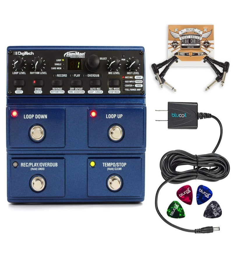 DigiTech JML2-U JamMan Stereo Looper Pedal Bundle with JamManager Loop Librarian Software, Blucoil Slim 9V Power Supply AC Adapter, 2-Pack of Pedal Patch Cables, and 4-Pack of Celluloid Guitar Picks