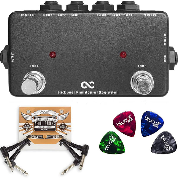 One Control Black Loop Pedal Effects Switcher Bundle with 2-Pack of Blucoil Pedal Patch Cables and 4-Pack of Celluloid Guitar Picks